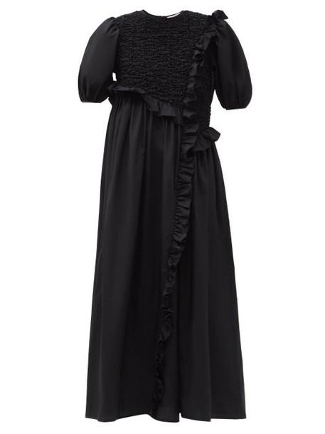 Cecilie Bahnsen - Chloe Ruffled Cotton-blend Poplin Dress - Womens - Black