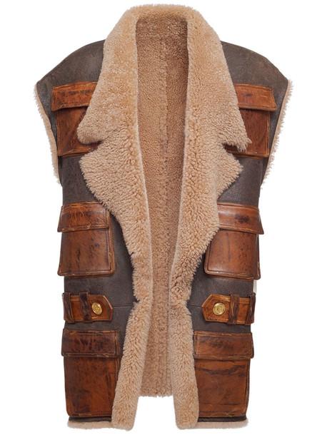BALMAIN Shearling Sleeveless Vest in brown