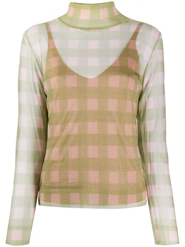 Fendi check knitted top in green