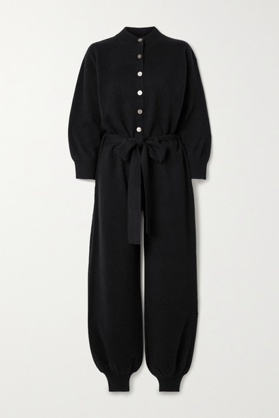 MADELEINE THOMPSON - Thurman Belted Cashmere Jumpsuit - Black