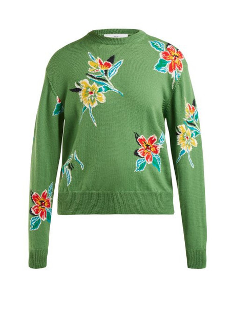 Toga - Floral Intarsia Wool Sweater - Womens - Green