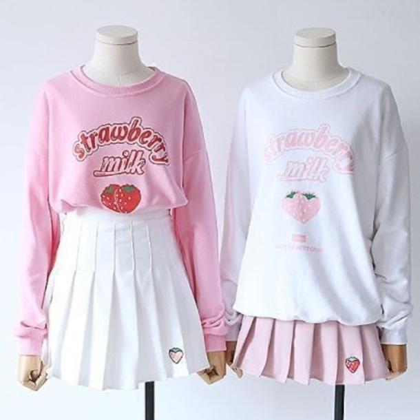 top pink white long sleeves aesthetic tumblr kawaii cute food anime girl girly pink top white top