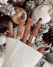 jewels,ring,gold,white sweater,christmas,nail polish,nail accessories