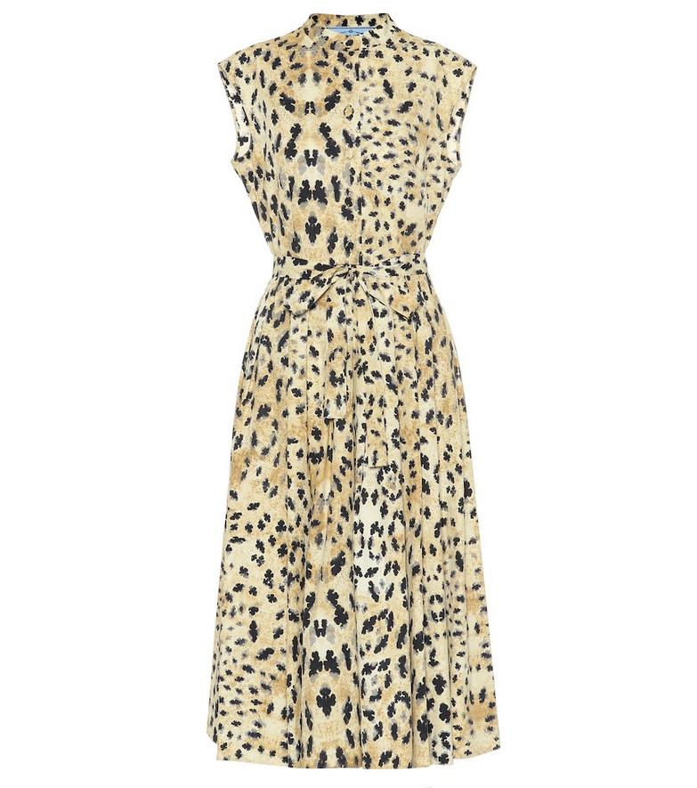 Prada Leopard-printed cotton-poplin dress in beige