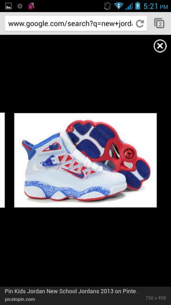 shoes jordans red blue white