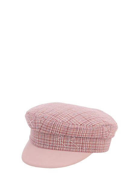 RUSLAN BAGINSKIY Tweed Baker Boy Hat in pink