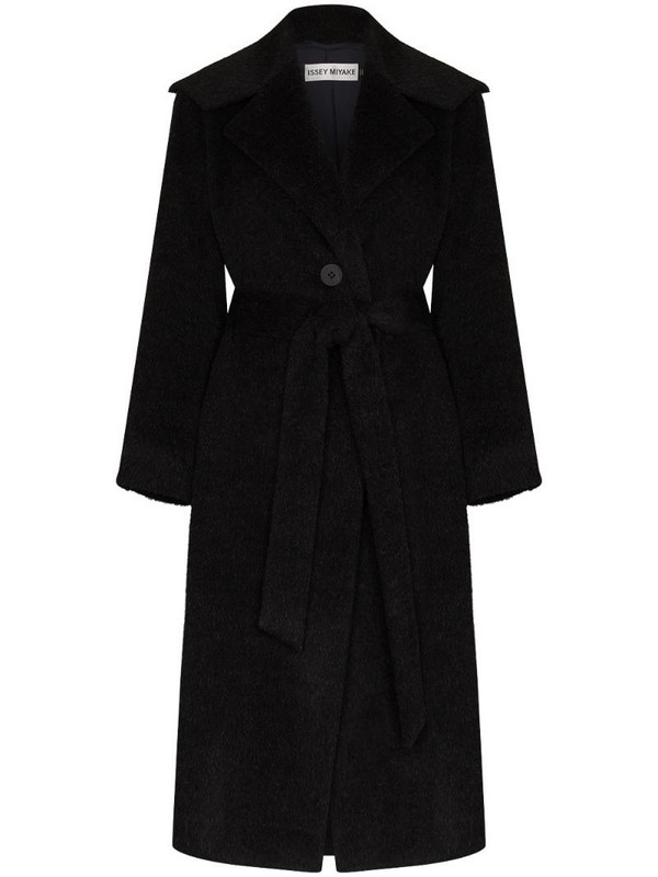 Issey Miyake wide-collar belted midi coat in grey