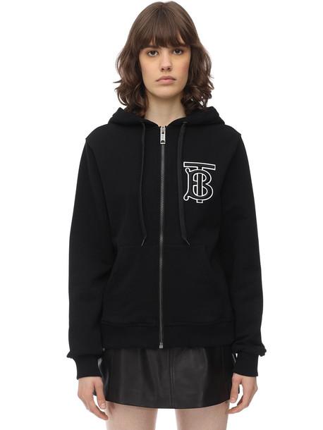 BURBERRY Tb Logo Zip-up Cotton Jersey Hoodie in black