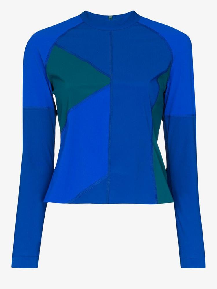 LNDR Malibu colour block rashguard top in blue