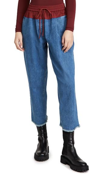 pushBUTTON Contrast Waist Denim Pants in blue