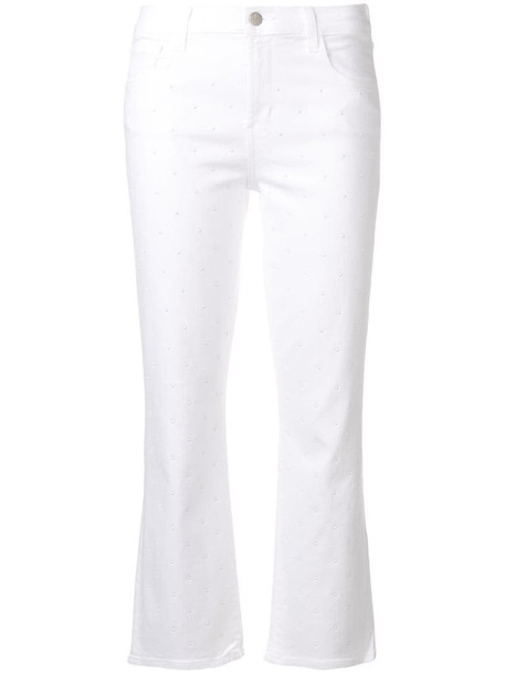 J Brand studded cropped jeans in white