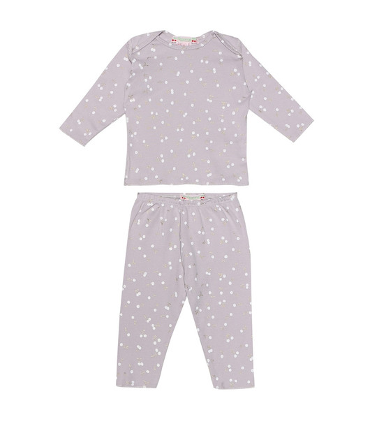 Bonpoint Baby printed cotton pajama set in purple