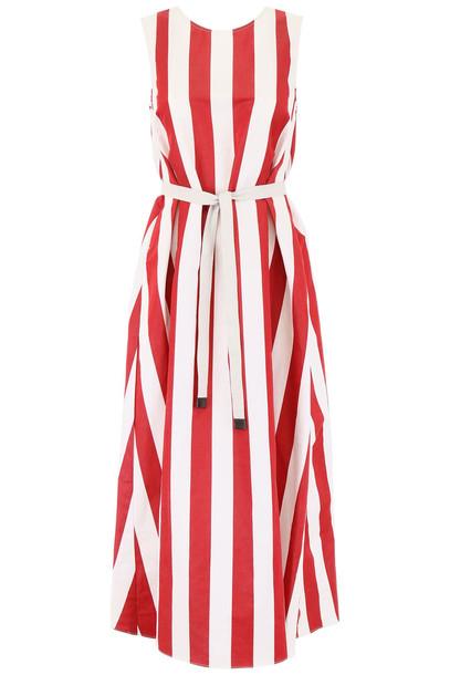 Max Mara Studio Striped Boccale Dress in red / white