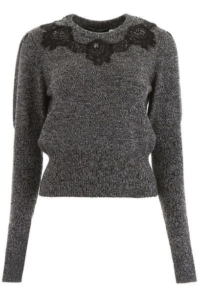 Dolce & Gabbana Pullover With Lace Inserts in grey