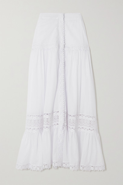 CHARO RUIZ - Ann Guipure Lace-trimmed Cotton-blend Voile Skirt - White