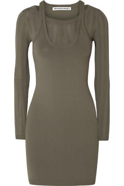 alexanderwang.t - Layered Stretch-knit Mini Dress - Army green