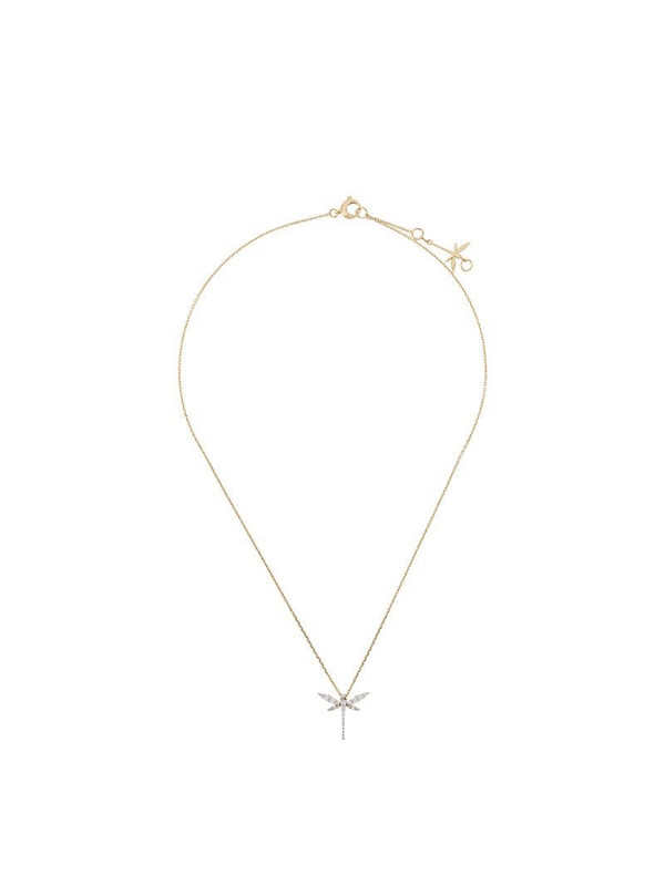 Anapsara 18kt yellow gold and diamond Mini Dragonfly necklace