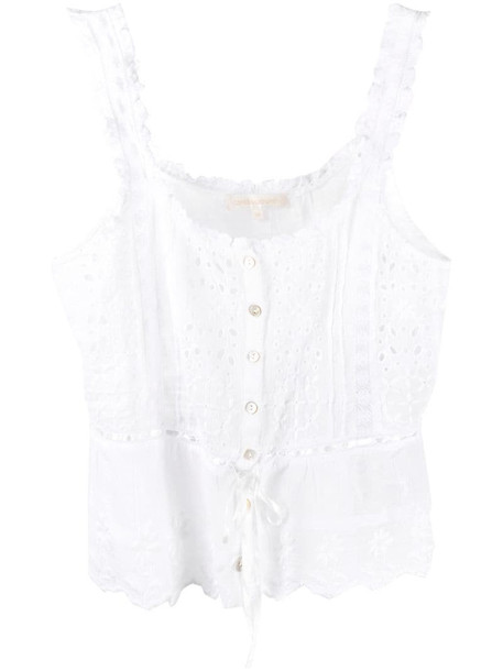LoveShackFancy Luanne sleeveless blouse in white