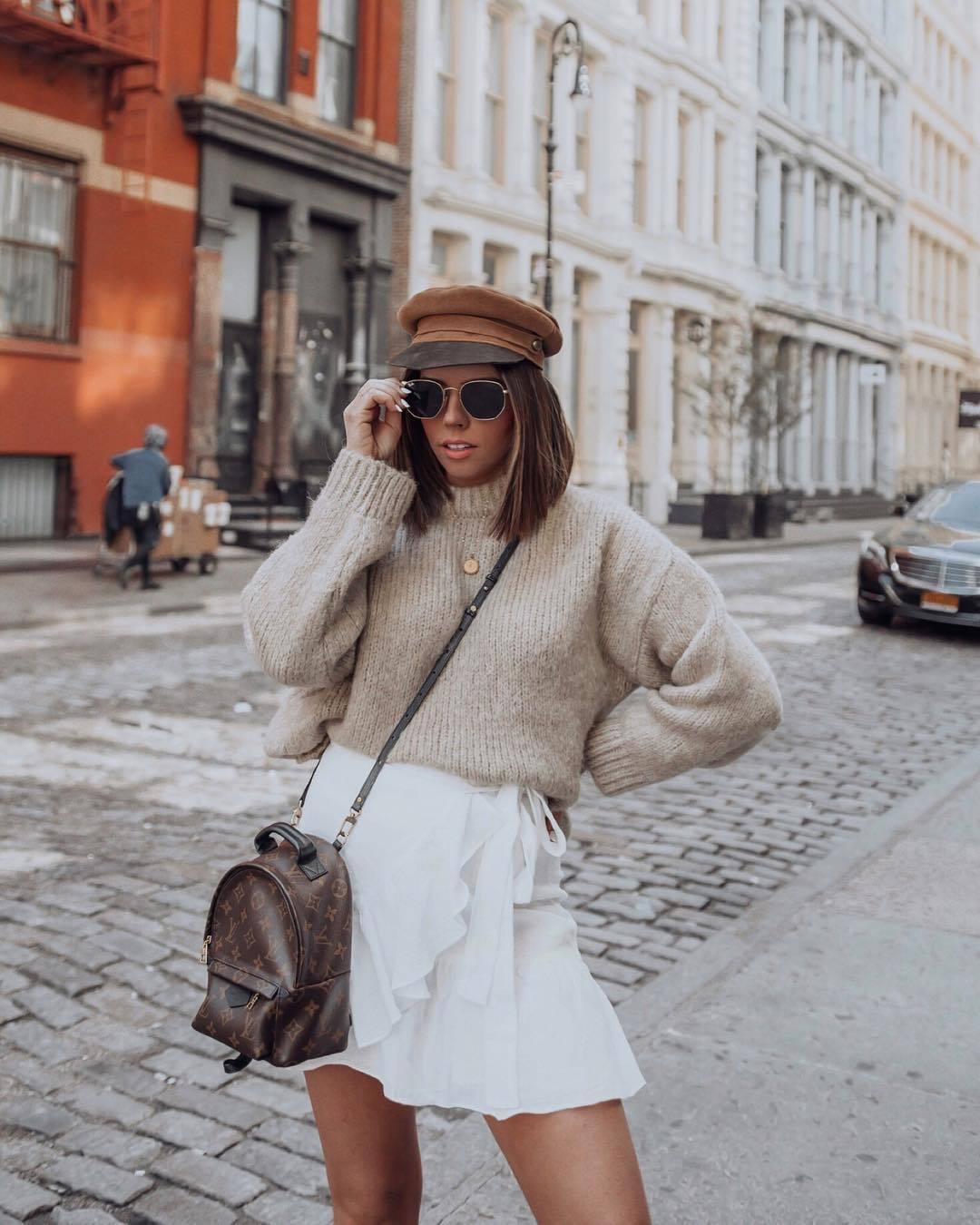 sweater knitted sweater oversized sweater white skirt mini skirt wrap skirt louis vuitton bag beret sunglasses