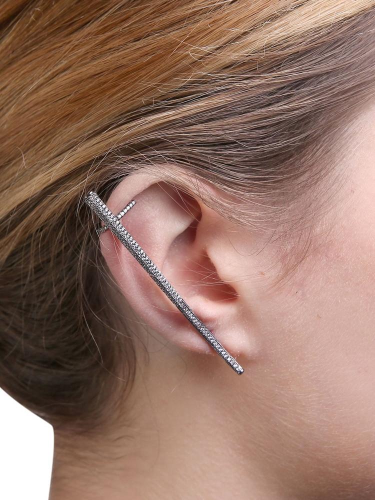 FEDERICA TOSI Kim Crystal Mono Earring in black