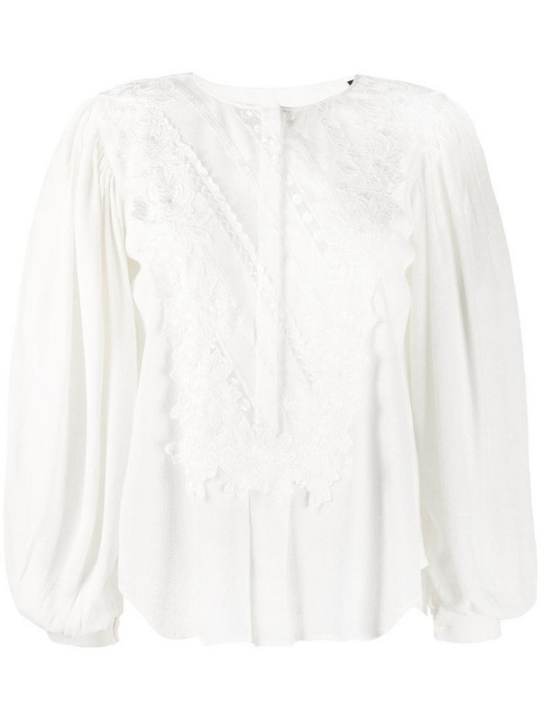 Isabel Marant Londrina embroidered blouse in white