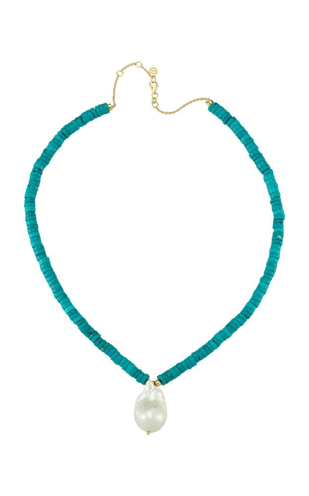 Charms Company Les Bonbons Pearl, Turquoise 14K Yellow Gold Necklace in blue