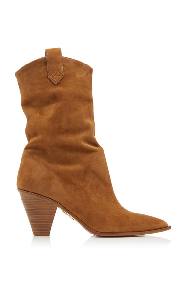 Aquazzura Boogie Cowboy Suede Ankle Boots in brown