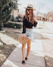 top,black top,off the shoulder top,denim shorts,flat sandals,wood,handbag,hat