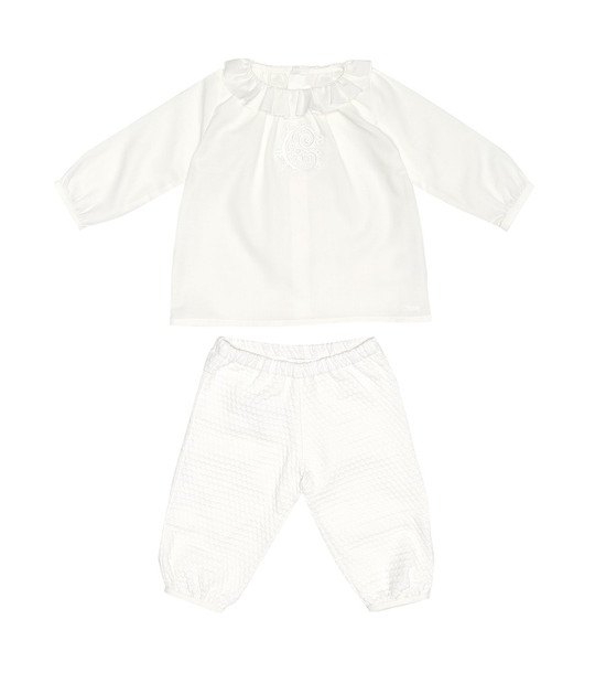 Chloé Kids Baby cotton top and pants set in white
