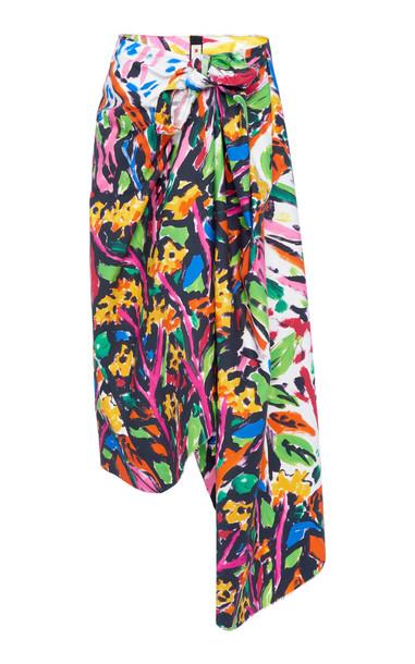 Marni Asymmetric Printed Cotton Tie-Front Midi Skirt Size: 36 in multi
