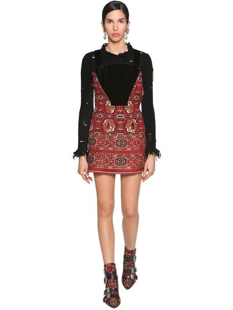 ETRO Jacquard & Velvet Corset Mini Dress
