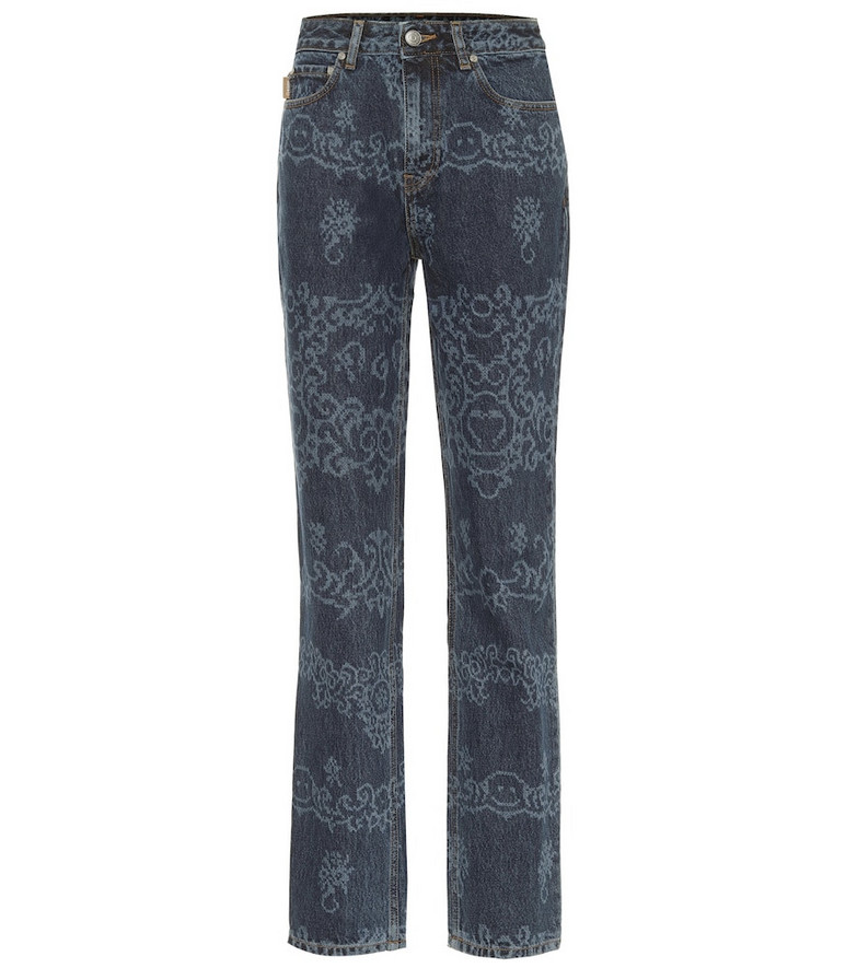 Ganni Printed high-rise straight jeans in blue