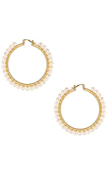 joolz by Martha Calvo Amalfi Pearl Hoop Earrings in Metallic Gold