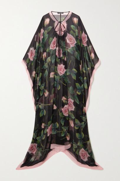 Dolce & Gabbana - Floral-print Silk-chiffon Dress - Black