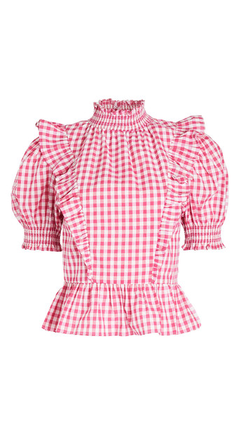 ENGLISH FACTORY Gingham Ruffled Top in pink