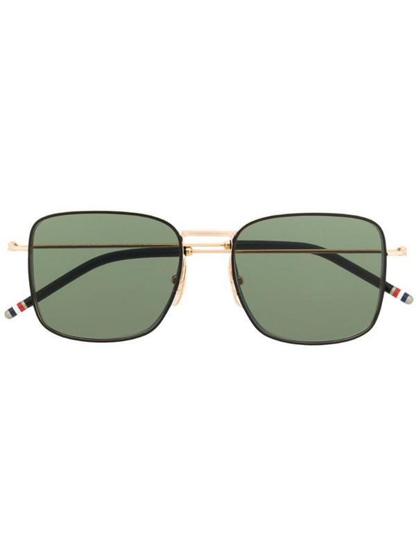 Thom Browne Eyewear TBS117 oversized squared aviator sunglasses in black