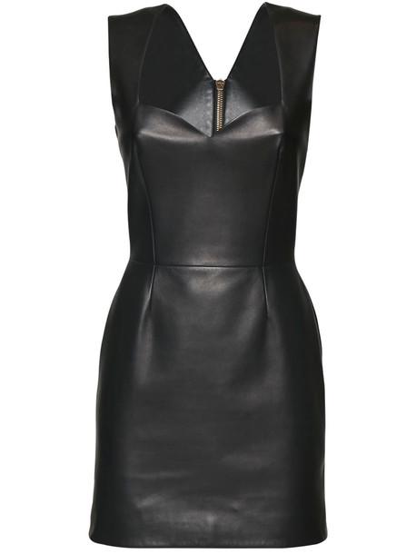VERSACE Leather Mini Dress in black