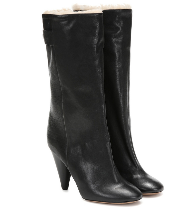 Isabel Marant Lafkee 90 shearling-lined ankle boots in black