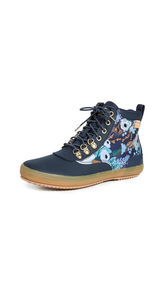 Keds x Rifle Paper Co. Scout Garden Party Boots in navy / multi