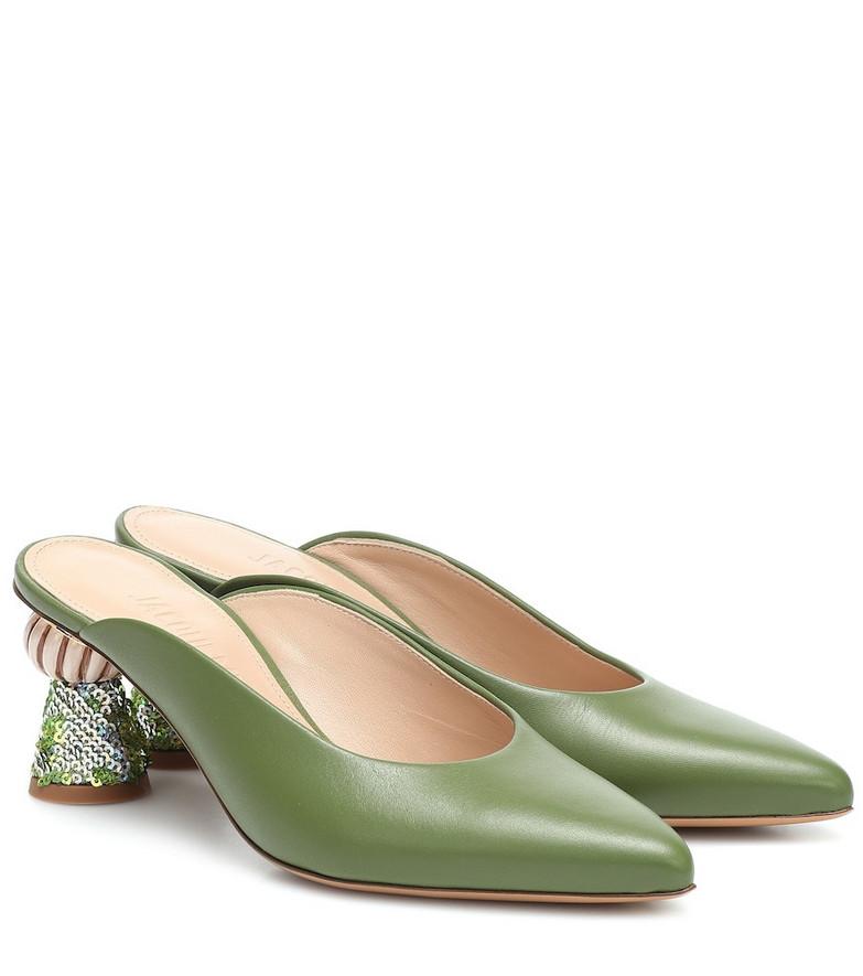 Jacquemus Les Mules Maceio leather mules in green