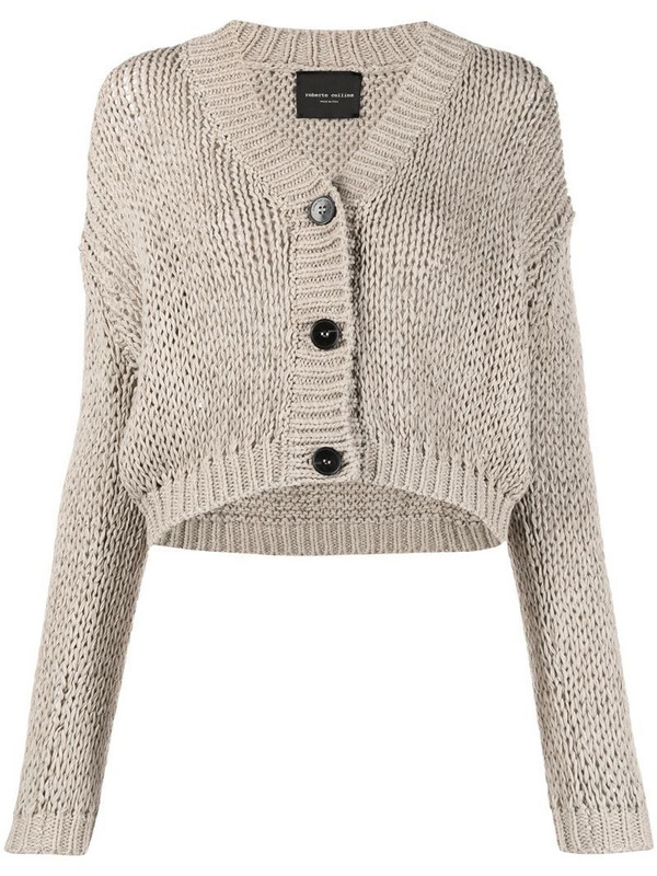 Roberto Collina V-neck knitted cardigan in neutrals
