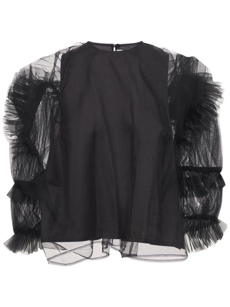 NOIR KEI NINOMIYA Ruffled Tulle & Organdy Top in black