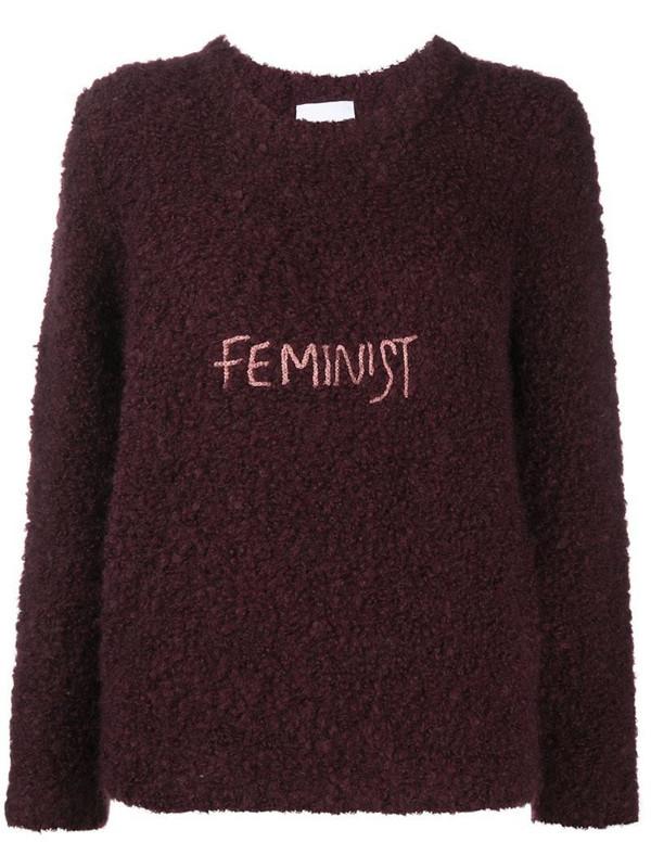 Antonella Rizza Feminist embroidered textured jumper in purple