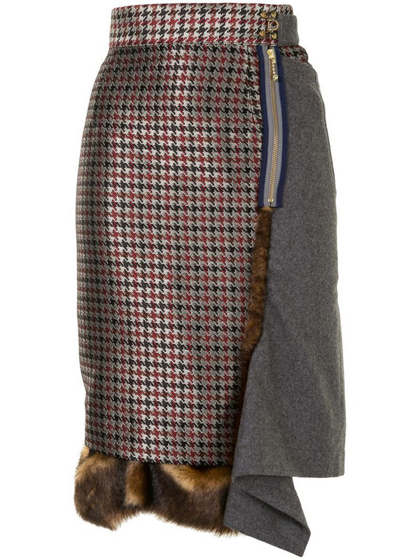Kolor panelled asymmetric pencil skirt in grey