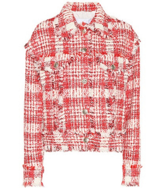 MSGM Plaid cotton-blend jacket in red