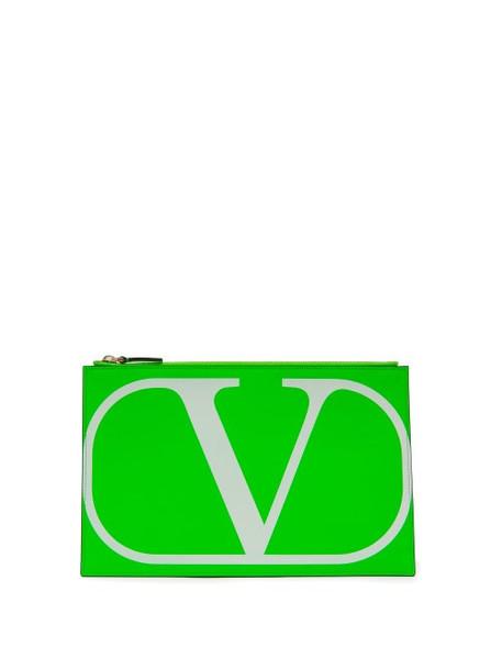 Valentino Garavani - V-logo Leather Pouch - Womens - Green