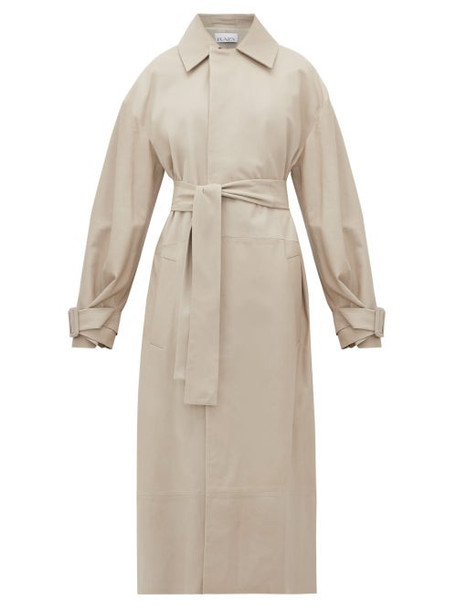 Raey - Belted Leather Trench Coat - Womens - Light Grey