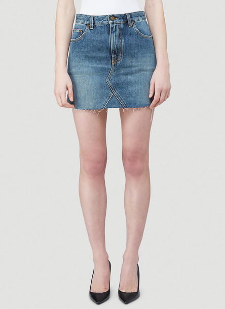 Saint Laurent Denim Mini Skirt in Blue size 26