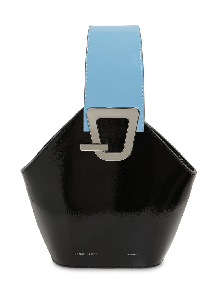 DANSE LENTE Mini Johnny Leather Top Handle Bag in black / blue