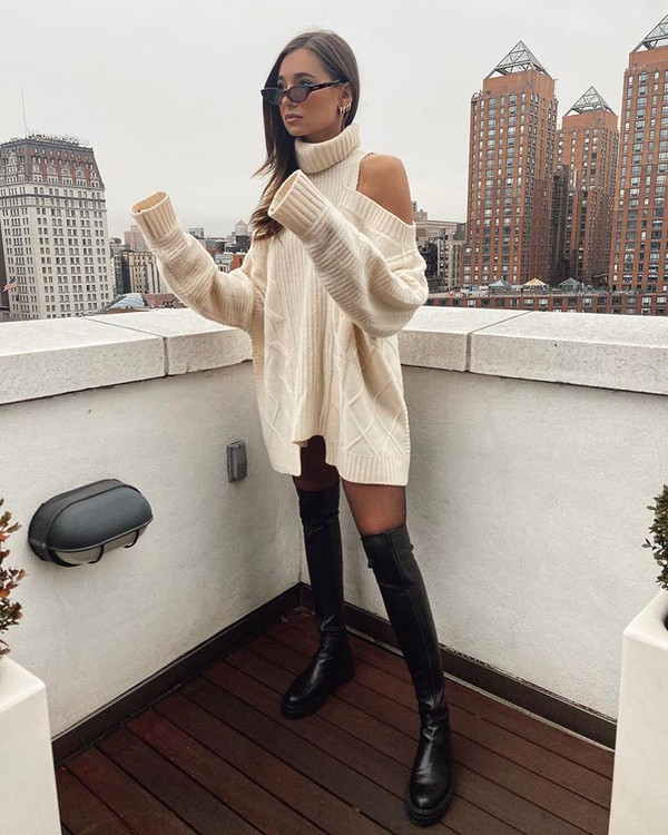 dress turtleneck dress oversized sweater over the knee boots black boots